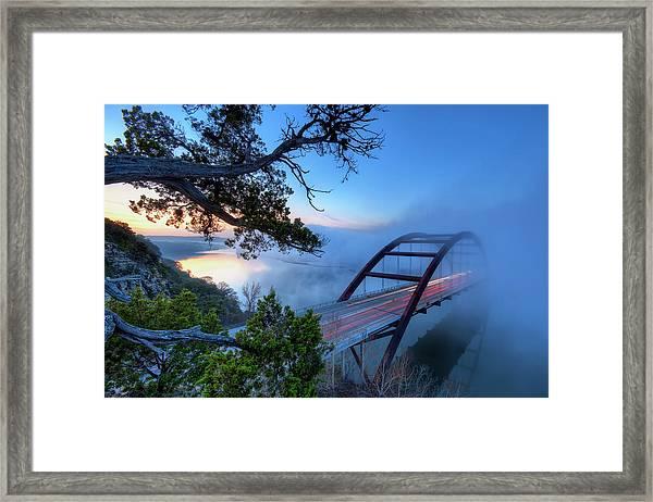 Pennybacker Bridge In Morning Fog Framed Print