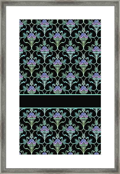 Peony Damask On Black Framed Print