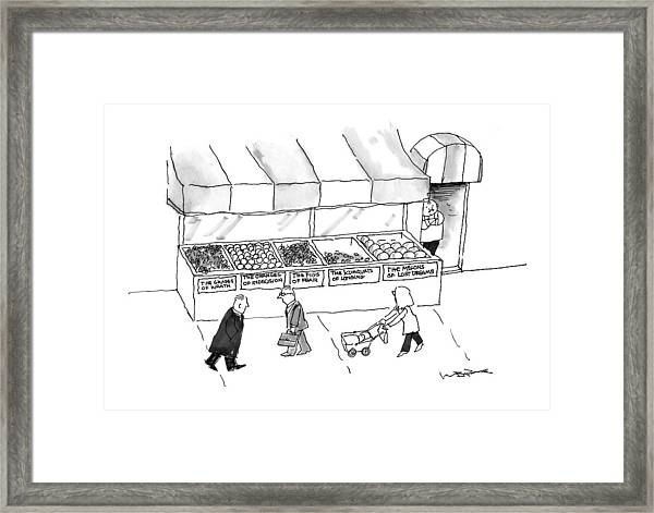 People Are Seen Walking Past A Produce Stand Framed Print