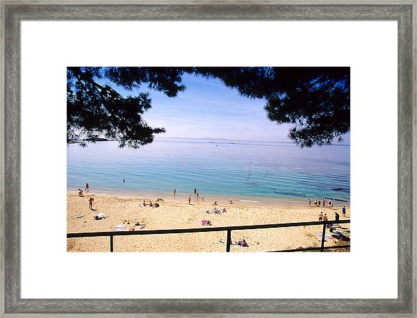 People At Canyelles Petites, Near Roses, Costa Brava, Catalonia, Spain Framed Print by Mel Stuart