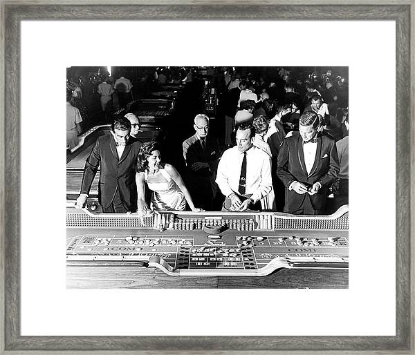 People At Craps Table Framed Print