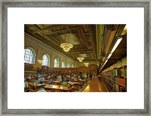 People At Tables Near Books In Huge Framed Print