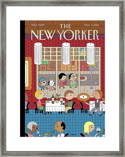 People Enjoying Dinner In The City Framed Print