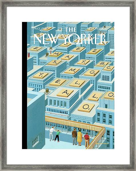 People On A Roof Lookout Over Rooftops Which Framed Print by Bruce McCall