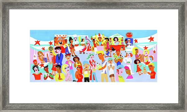 People Shopping And Eating In Vibrant Framed Print