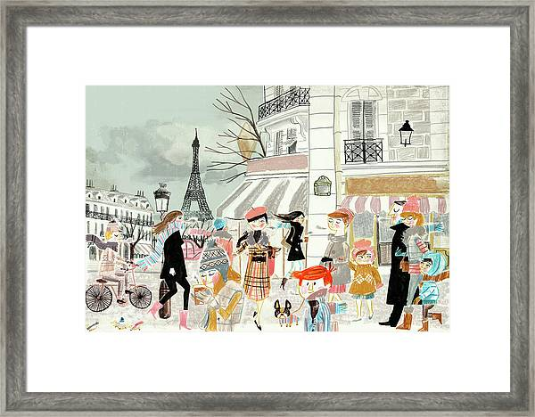 People Shopping And Sitting At Sidewalk Framed Print