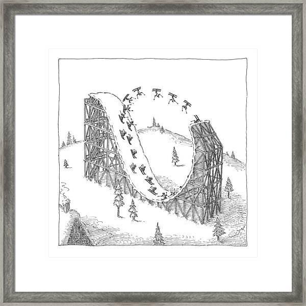 People Ski On A Circular Ski Ramp That Resembles Framed Print