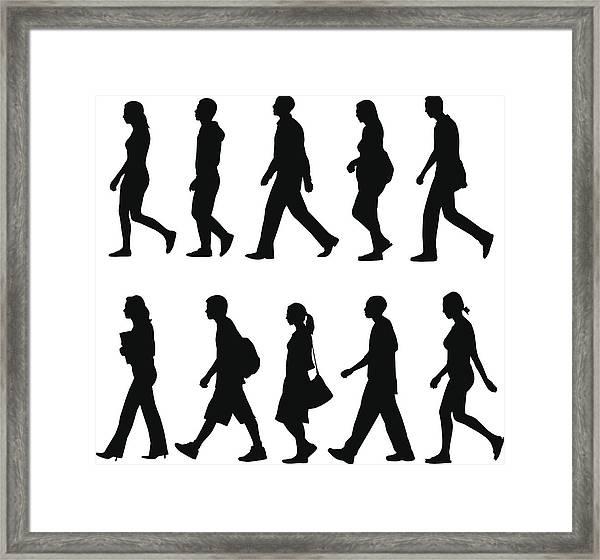 People Walking Framed Print by Rangepuppies