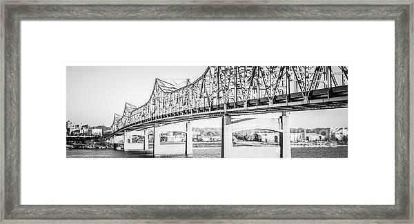 Peoria Bridge Panoramic Black And White Picture Framed Print