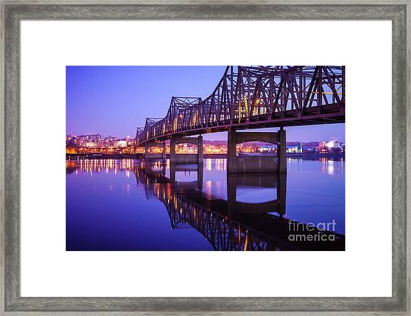 Peoria Illinois Bridge At Night - Murray Baker Bridge Framed Print