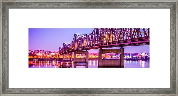 Peoria Illinois Bridge Panorama Photo Framed Print