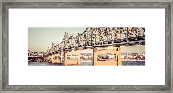 Peoria Illinois Bridge Retro Panorama Photo Framed Print