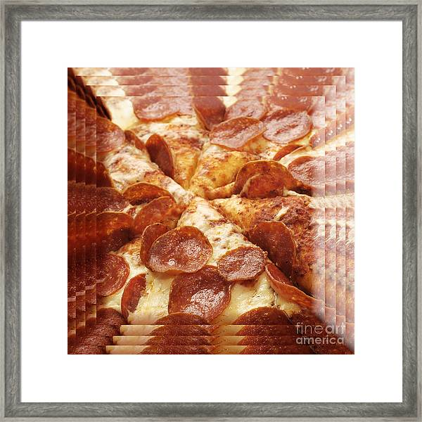 Pepperoni Pizza 25 Pyramid Framed Print