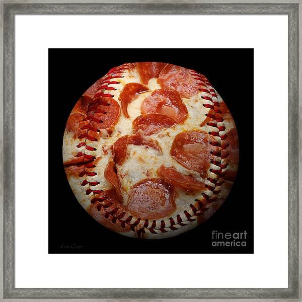 Pepperoni Pizza Baseball Square Framed Print