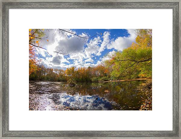 Pequotsepos Duck Pond Reflection   Framed Print