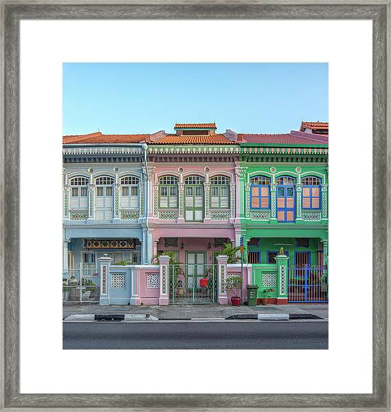 Peranakan Architecture Framed Print by Edward Tian