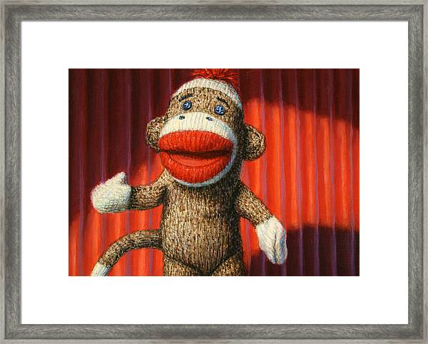 Performing Sock Monkey Framed Print
