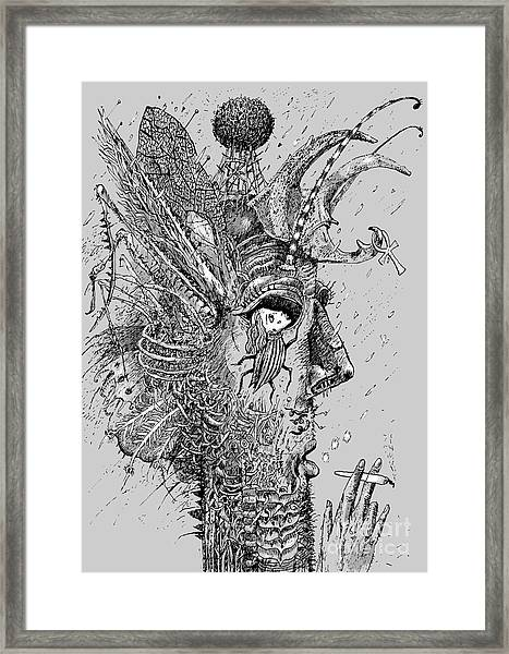 Person Insect. Smoker. Surrealistic Framed Print by Alex74