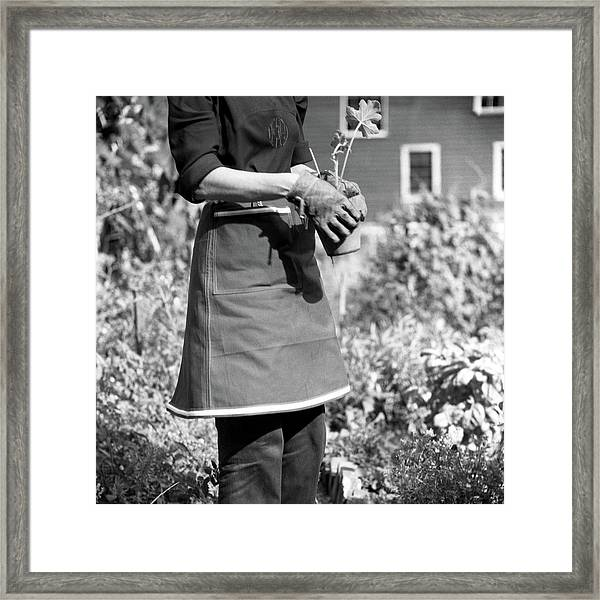 Person Wearing A Gardening Apron Framed Print