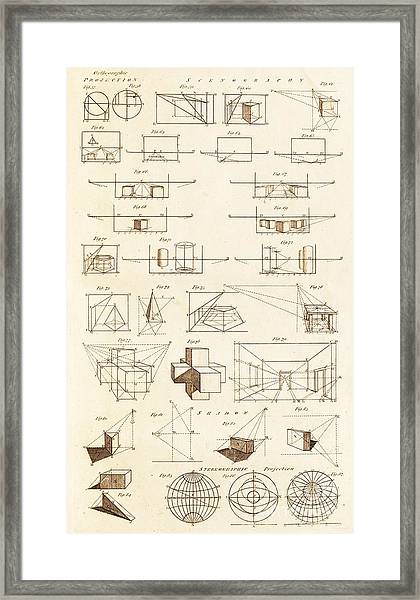 Perspective And Scenographic Diagrams. Framed Print