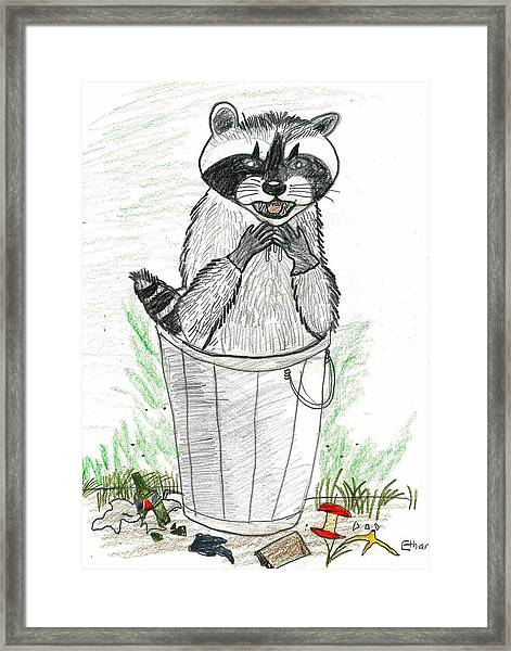 Pesky Raccoon Framed Print by Ethan Chaupiz