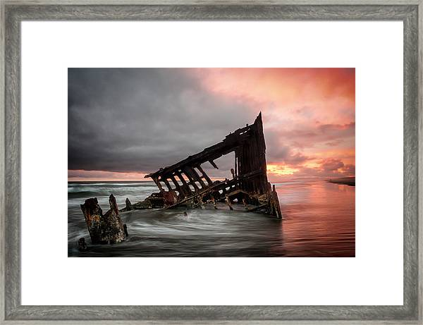 Peter Iredale Sunset Framed Print