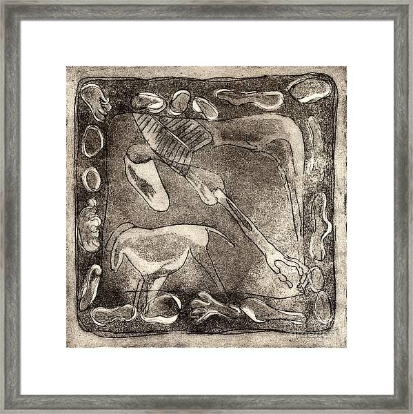 Petroglyph - Horse Takhi And Stones - Prehistoric Art - Cave Art - Rock Art - Cave Painters Framed Print