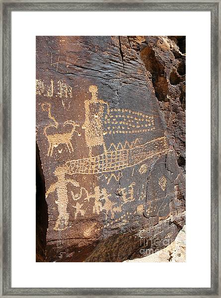 555p Petroglyph - Nine Mile Canyon Framed Print