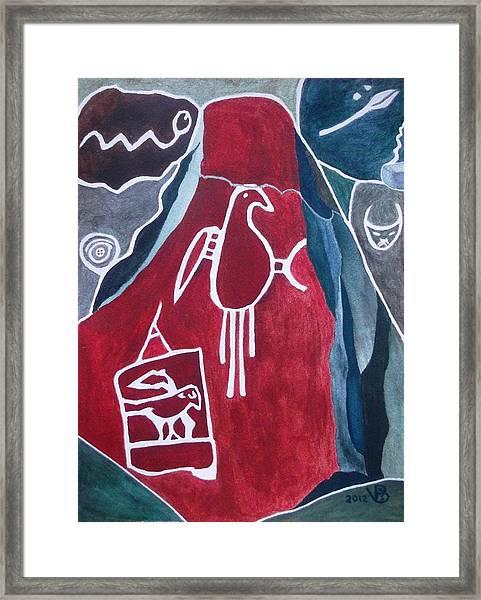 Petroglyph Parrot Framed Print