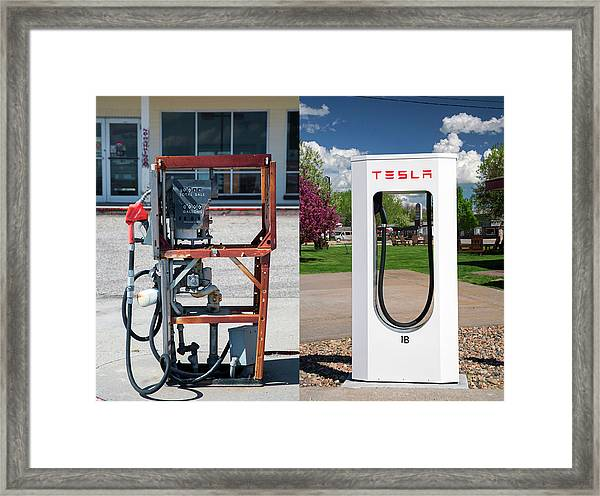 Petrol Pump And Electric Charging Point Framed Print by Jim West
