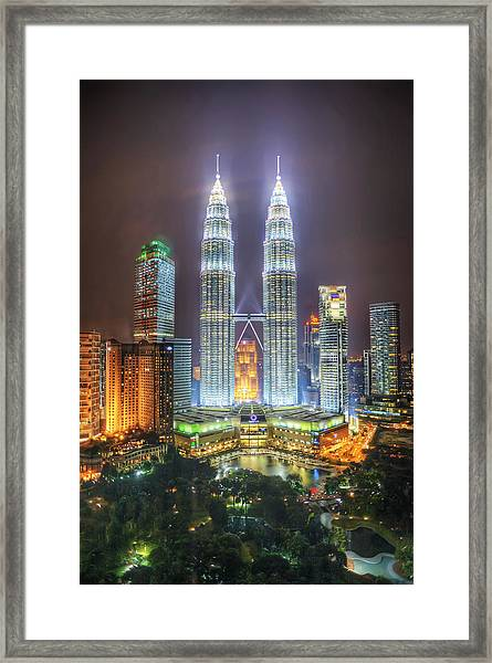 Petronas Twin Towers And Klcc Park At Night Framed Print by Daniel Chui