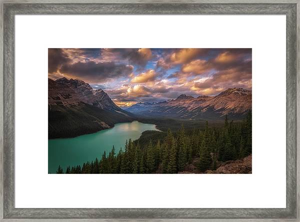 Peyto Lake At Dusk Framed Print by Michael Zheng