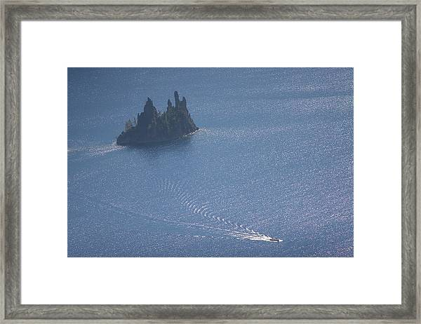 Phantom Ship In Crater Lake In Crater Framed Print