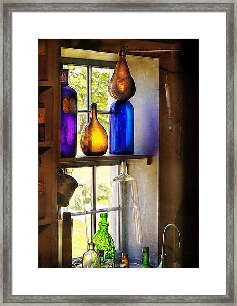 Pharmacy - Colorful Glassware  Framed Print
