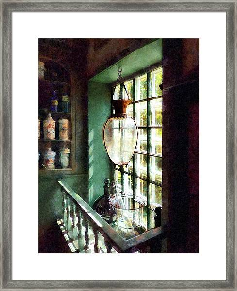 Pharmacy - Glass Mortar And Pestle On Windowsill Framed Print