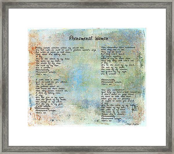 Phenomenal Woman - Blue Rustic Framed Print