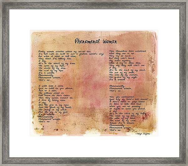 Phenomenal Woman - Red Rustic Framed Print
