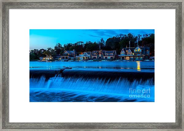 Philadelphia Boathouse Row At Sunset Framed Print