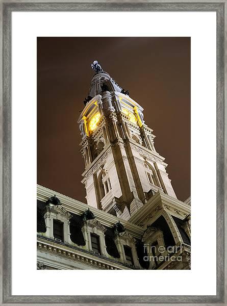 Philadelphia City Hall Clock Tower At Night Framed Print