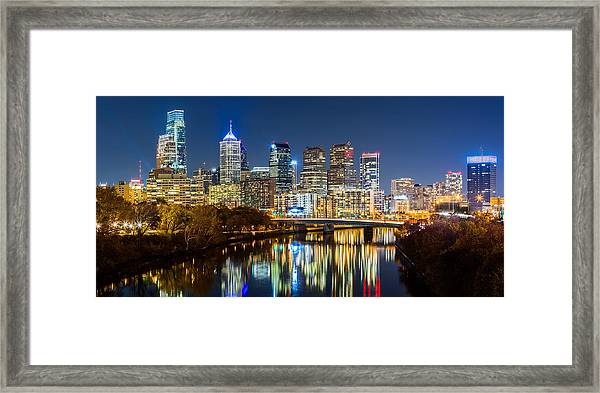 Philadelphia Cityscape Panorama By Night Framed Print