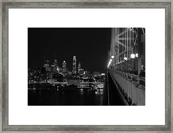 Philadelphia Night B/w Framed Print
