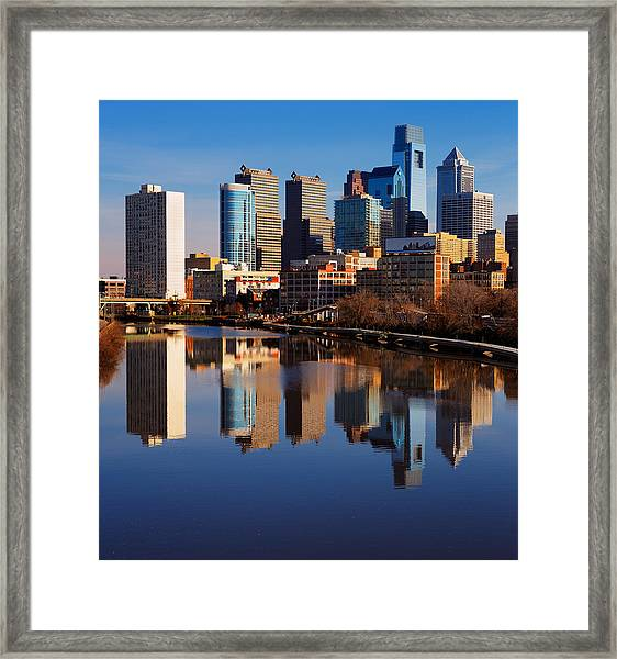 Philadelphia Reflected In The Still Watera Framed Print by Sophie James