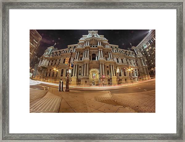 Philadelphia's Golden Glow  Framed Print