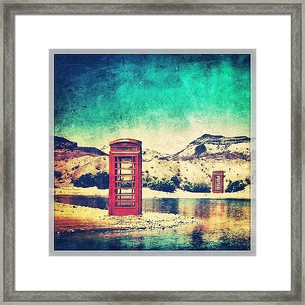 #phone #telephone #box #booth #desert Framed Print
