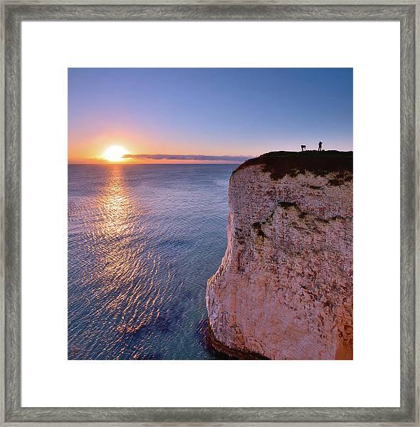 Photographers At Dawn. Studland Dorset Framed Print