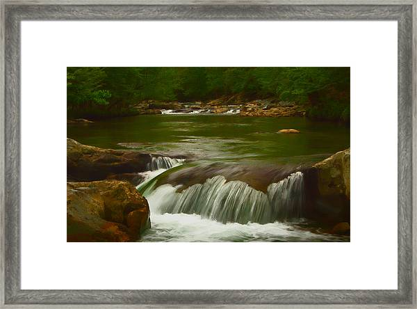 Photographic Painting Of Rushing Water Framed Print