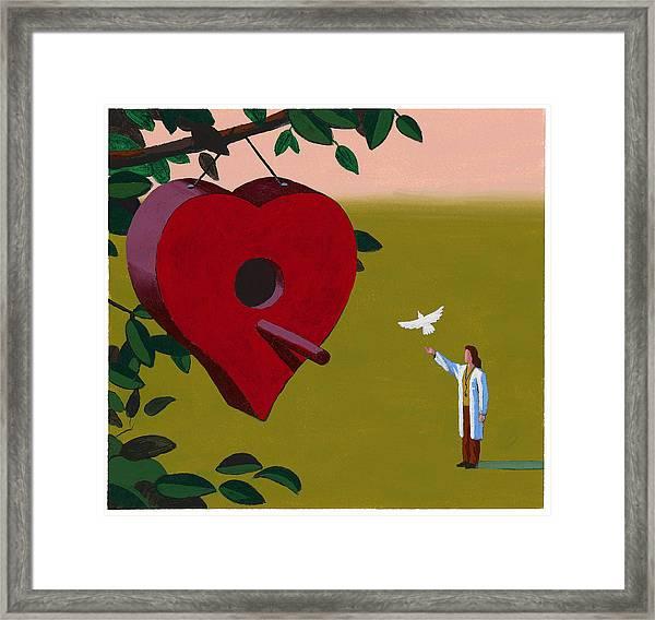 Physician Releasing Dove Framed Print by Jonathan Evans