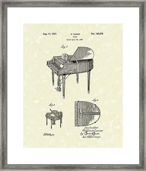 Piano 1937 Patent Art Framed Print