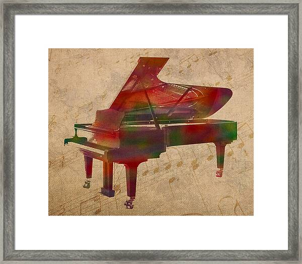 Piano Instrument Watercolor Portrait With Sheet Music Background On Worn Canvas Framed Print