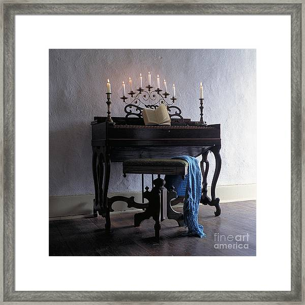 Piano With Candelabra Framed Print